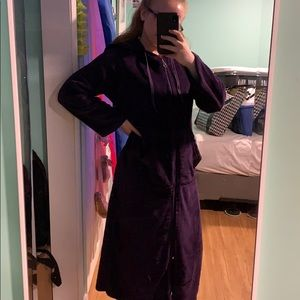Long Purple Robe with Pockets and Hood
